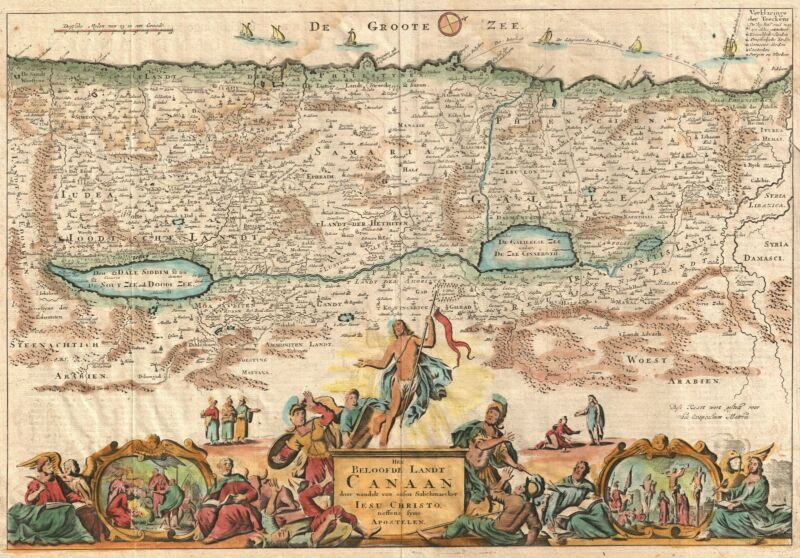 1730 Stoopendaal Map of Canaan (Israel, Palestine, Holy Land)