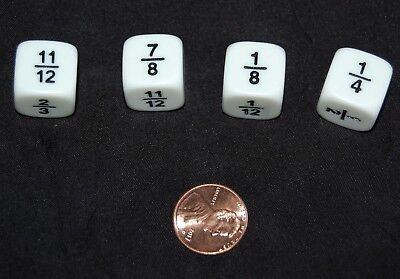 Fraction Dice Set (NEW Set of 4 FRACTION DICE (11 different fractions) Math Home Classroom Resource )