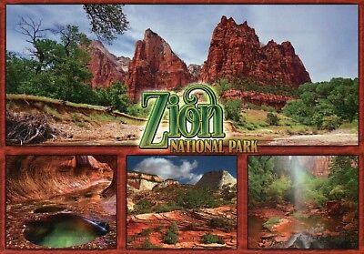 Zion National Park Utah Montage, Grand Staircase Pool Rock Climbing etc Postcard