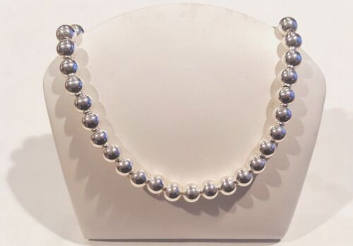 10 mm Beads,18Inch. Sterling Silver Necklace No Reserve Retail $279-Spec B/O