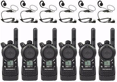 6 Motorola Cls1110 Uhf Two-way Radios Hkln4604 Headsets. Buy 6 Get One Free