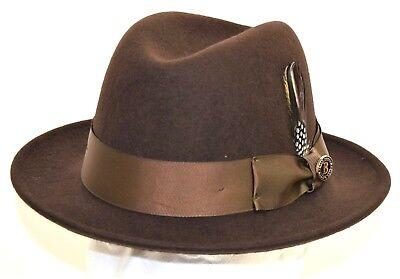 Men's Fedora Dress Hat Center Dent Brown CH-301 Sizes S, M, L, XL 100% Wool Center Dent Fedora