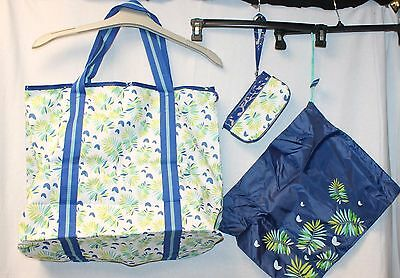 NEW 3 PIECE BEACH BAG SET 1 LARGE TOTE BAG 1 COSMETIC BAG 1 WET CLOTHES BAG