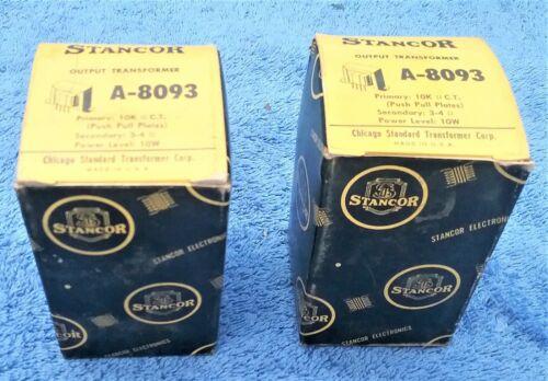 2 NOS  OUTPUT TRANSFORMERS 10 watt  STANCOR  A-8093 PRI 10K Ω C.T. / 3-4 Ω/ 10 W