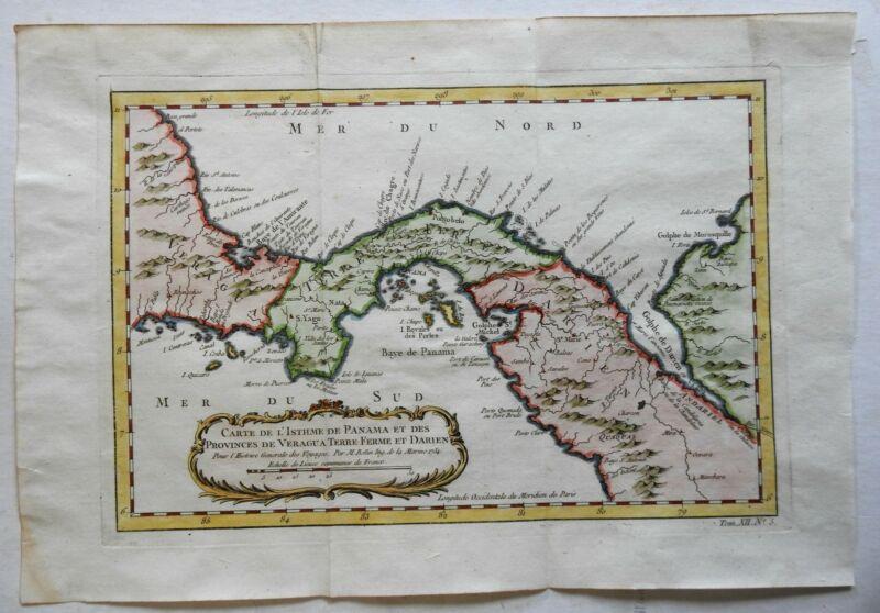 Panama Isthmus Veraguas Darien Central America 1754 Bellin map