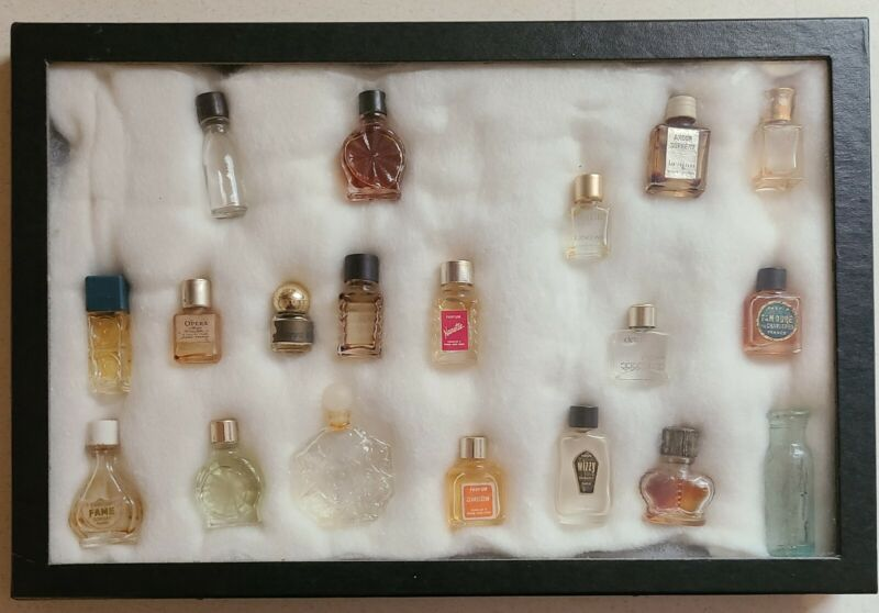 Miniature Perfume Bottle Collection-In Display Case 19 Assorted Bottles