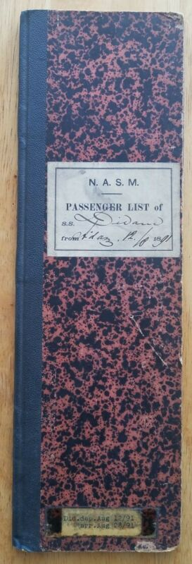 DIDAM (NASM) 1891 HANDWRITTEN PASSENGER LIST