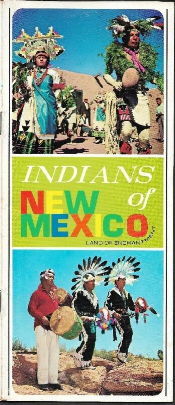 1977 INDIANS OF NEW MEXICO Santa Fe Road Map Booklet Reservations Pueblos Dutton