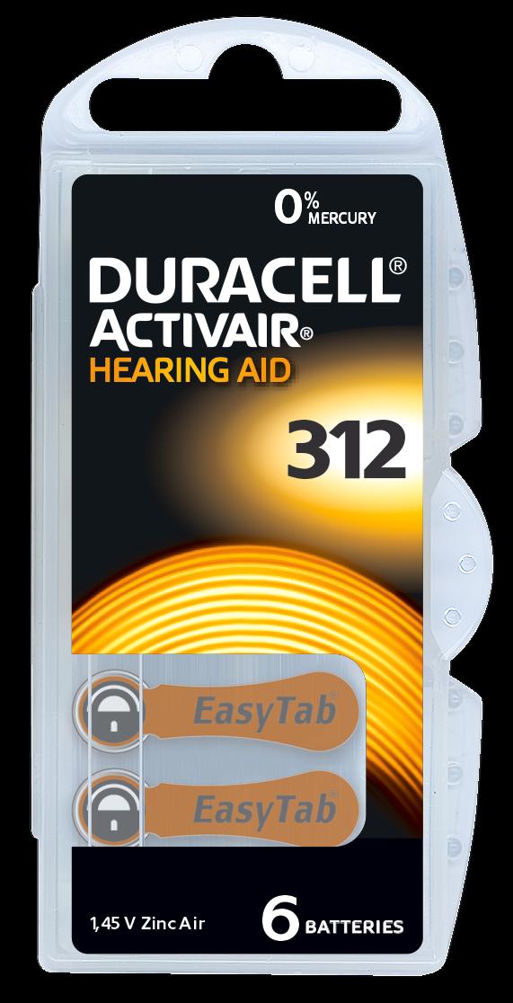 30 od.60 x Duracell Activair Hörgerätebatterien Mercury Free 0% Hg Typ 312 braun