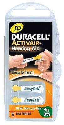 60 X Hörgerätebatterien Duracell Activair Typ 10 - Gelb Mercury Free Hg
