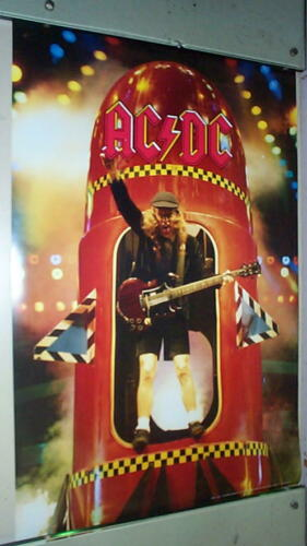 AC DC Angus Young Rocket  Vintage Poster