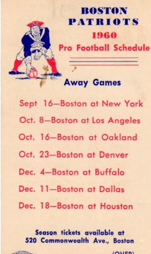 1960 Boston Patriots Schedule First Year/ Home and Away/New England Patriots Mt