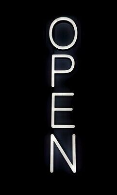 Pink Neon Vertical Open Sign With Hardware