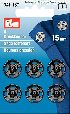 Annäh - Druckknöpfe 15 mm schwarz 6 Stück Prym 341169 zum annähen Metall