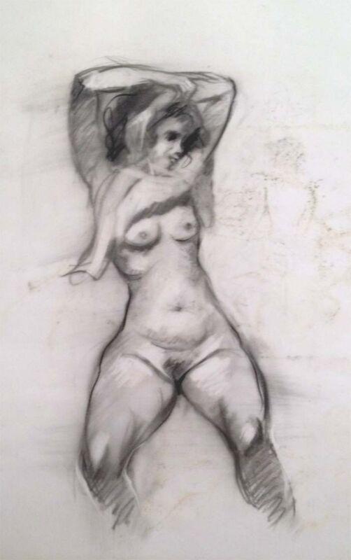 """Julian Ritter - """" Nude Lady - 8 """" Charcoal on Vellum 19""""x 23"""" Un-Signed- 267"""