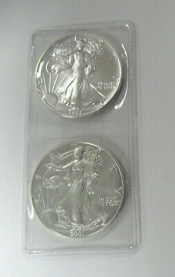 US Two UNC. 1 oz .999 SILVER AMERICAN EAGLES Dated 1991 & 2001-TWO TROY OZ TOTAL