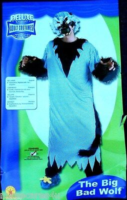 BIG BAD WOLF DELUXE HALLOWEEN COSTUME NIGHTIE FURRY WOLF MEN'S UP TO SIZE 44 - Big Bad Wolf Costumes For Men