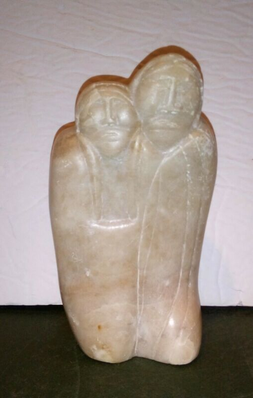 Vintage Inuit Soapstone Carving Eskimo Figural Couple Man Wife Signed Narch