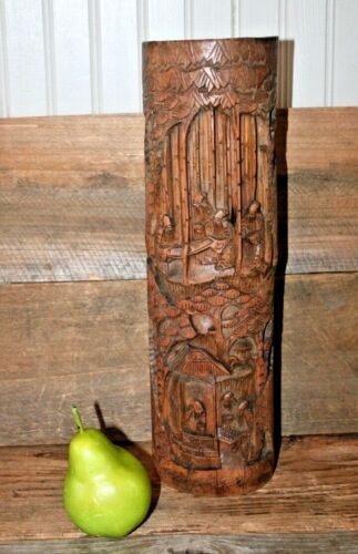 """Antique Carved Bamboo Chinese Brush Pot (Bitong) from ca. 1900 Wood Vase 14 3/4"""""""
