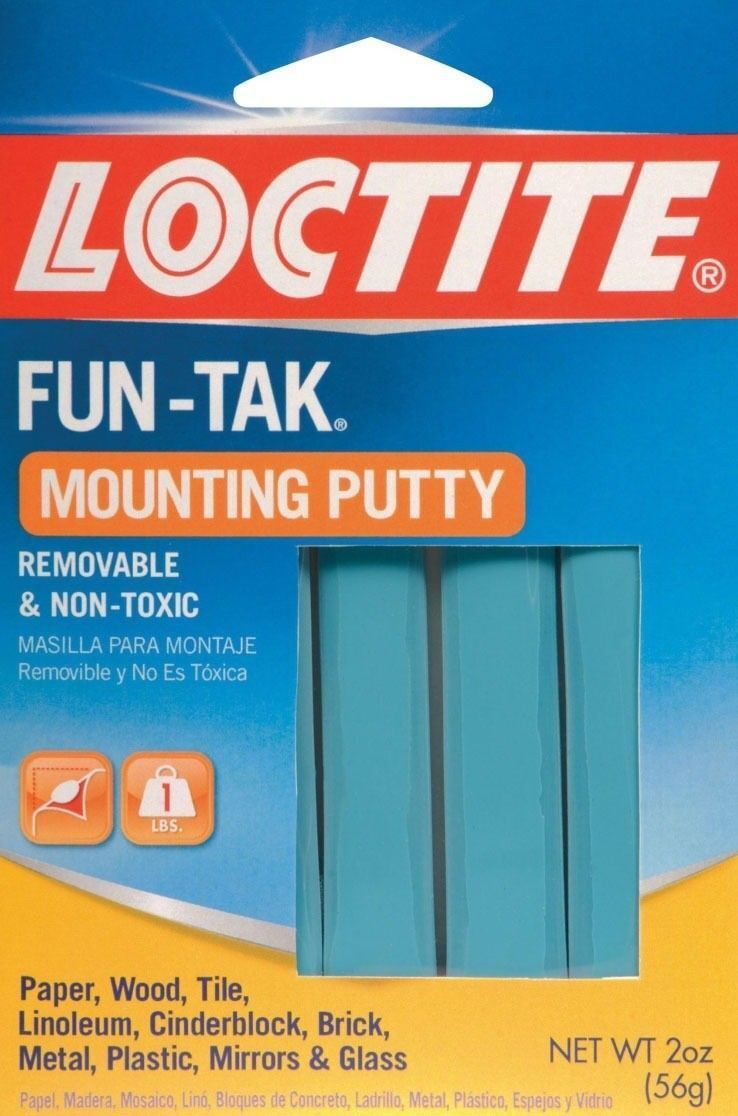 Loctite 1087306 Fun-Tak Reusable Removable Non-Toxic Mounting Putty Adhesive Adhesives & Tape