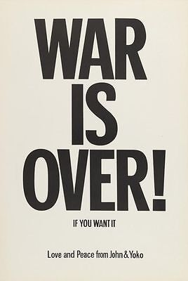 "JOHN LENNON & YOKO ONO ""WAR IS OVER"" ORIGINAL 1969 PROTEST POSTER"