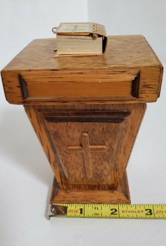 "Vintage Church Pulpit podium Music Box with mini  Bible - ""Amazing Grace"""