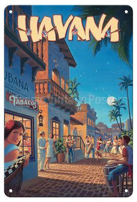 Havana, Cuba - Kerne Erickson - Vintage Travel Poster Metal Tin Sign - Cuba Sign