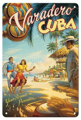 Varadero, Cuba Dancers - Kerne Erickson - Vintage Travel Poster Metal Tin Sign - Cuba Sign