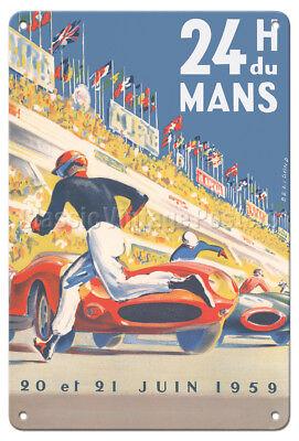 1959 Grand Prix - Le Mans France - Vintage Car Racing Poster Metal Tin (Racing Tin Metal Sign)