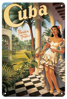Cuba, Tropics Paradise - Kerne Erickson - Vintage Travel Poster Metal Tin Sign - Cuba Sign