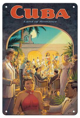 """Cuba """"Land of Romance"""" - Kerne Erickson - Vintage Travel Poster Metal Tin Sign - Cuba Sign"""