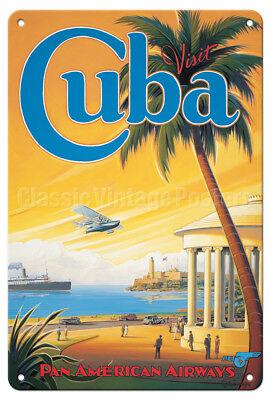 Cuba, Pan American (PAA) - Kerne Erickson - Vintage Travel Poster Metal Tin Sign - Cuba Sign