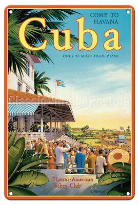 Havana, Cuba Jockey Club - Kerne Erickson - Vintage Travel Poster Metal Tin Sign - Cuba Sign