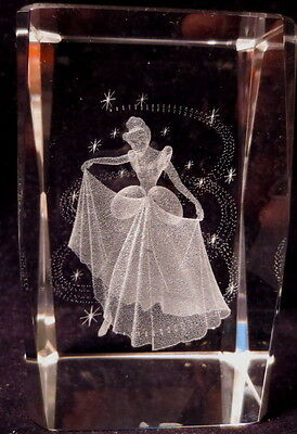 "3D LASER ETCHED GLASS DISNEY PRINCESS CINDERELLA 3"" PAPERWEIGHT W/BOX! *"