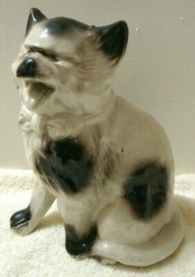 Black White Ugly Cat Figurine w/ White Tuxedo Tie Grumpy Long Haired Siamese Cat for sale  Shipping to Canada