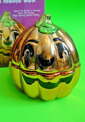 Halloween Music Mr Jack (MR. HALLOWEEN Porcelain Music Box Shiny Jack O Lantern Box in)