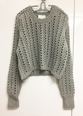 [3.1 Phillip Lim] Gray Cropped Sweater Sz Large / Cable Knit Top / NWT