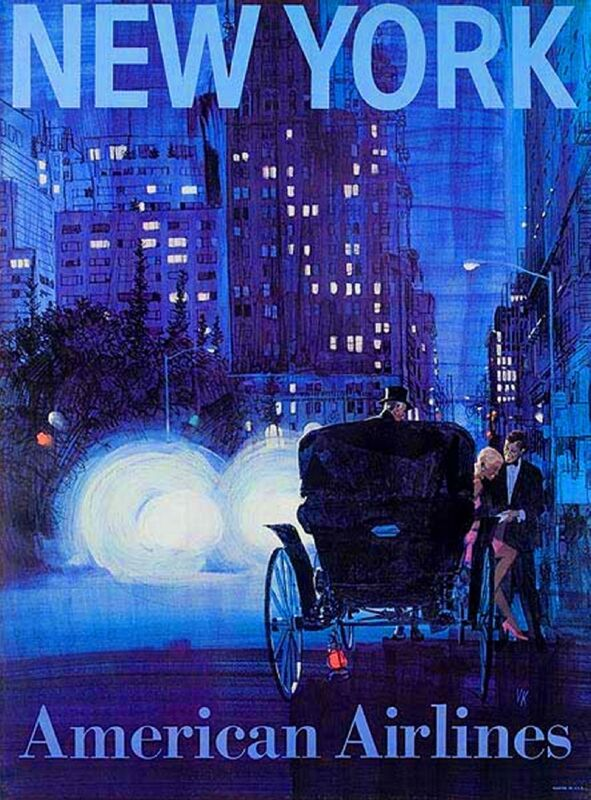 New York City by Clipper United States America Travel Advertisement Art Poster