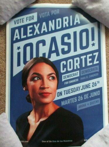 ALEXANDRIA OCASIO CORTEZ aoc 2018 CAMPAIGN POSTER blue vote