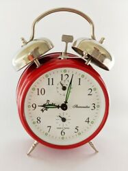 Mechanical Double-Bell Alarm Clock MM11160237, Made in Europe, Traffic RED