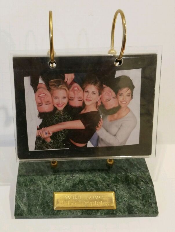 Green Stone Marble Photo Holder Hanging Rolodex Style Holds 48 Pictures