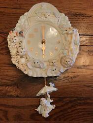 Lenox Fine Porcelain Noah's Ark Nursery Pendulum Wall Clock Hand Painted Baby