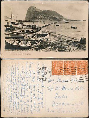 GIBRALTAR 1951 REAL PHOTO PPC BOATS...BEANLAND MALIN + CO...POSTED in GB