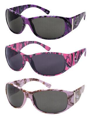 Edge I-Wear Women's Oval Wrap Style Sunglasses with Camo Design (Woman Wearing Sunglasses)