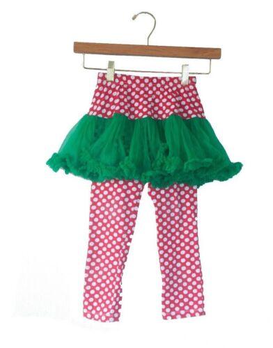 Mud Pie Girls Size 5T Red White Polka Dot Green Tulle Holiday Skirt W/Leggings