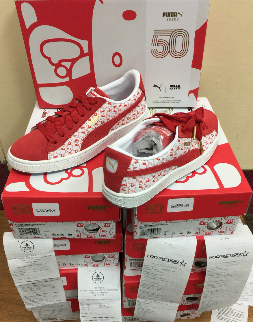 5556b1cfd ... Puma x Hello Kitty 50 Anniversary Suede Red White GS 366463-01  Authentic US3y~ ...