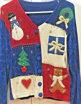 Ugly Christmas Sweater Trophy (Ugly cute Christmas Sweater, Chenille, Pearls, Beads - Prize Winner!  Size)