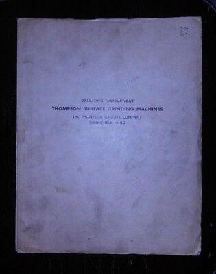 Thompson Surface Grinder Operating Manual Model C