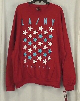 Garnet Mens Sweatshirt - XL Mens TONY HAWK Sweatshirt LA NY STAR Red Garnet Pullover Fleece NEW