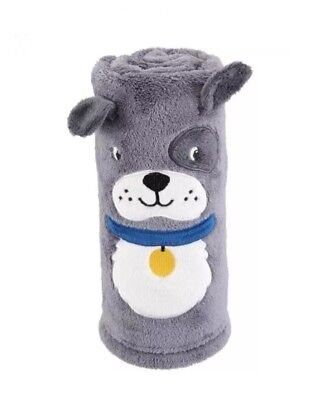 NWT Carters Gray Puppy Dog Roll Up Blanket Soft Plush Fleece Security Lovey Toy